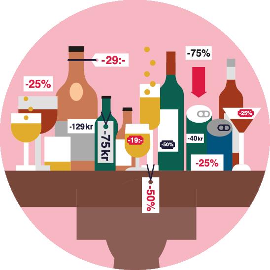 illustration av alkoholflaskor med rabatt